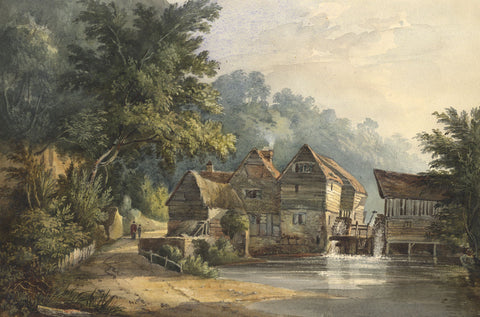Old Watermill - Original early 19th-century watercolour painting