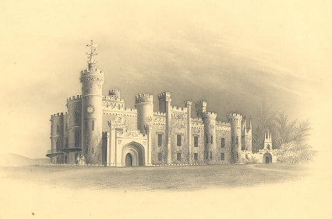 Eridge Castle, Sussex - Original early 19th-century graphite drawing