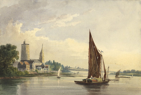 Thames Barge on the River - Original early 19th-century watercolour painting