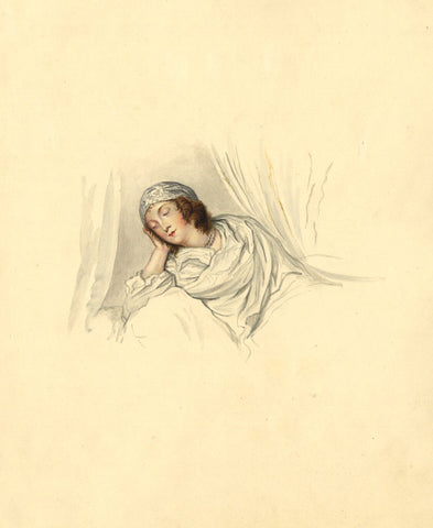 Woman in Bed - Original early 19th-century watercolour painting