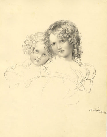 H. Fairfax, Children Portrait - Original early 19th-century watercolour painting