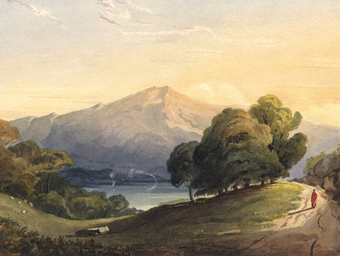 Mountain, Lake and Path - Original early 19th-century watercolour painting
