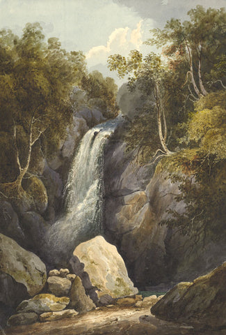 Waterfall, Rocks and Trees - Original early 19th-century watercolour painting