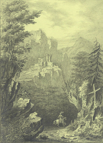 G.J., Distant Castle with Knight on Horse below - Original 1835 graphite drawing