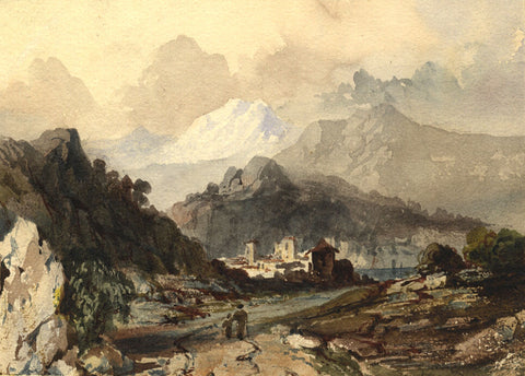 Continental Landscape - Original early 19th-century watercolour painting