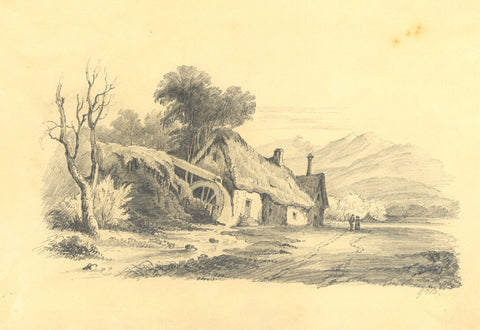 Path by Thatched Cottage - Original early 19th-century graphite drawing