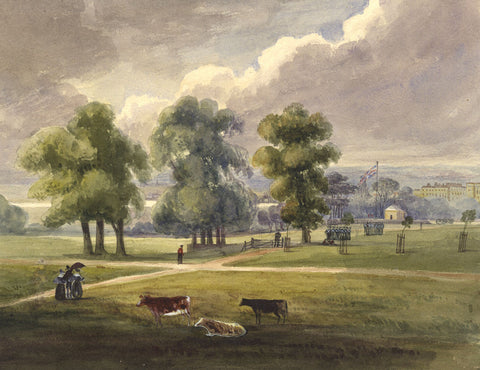 Military Barracks & Parkland - Original early 19th-century watercolour painting
