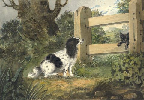 Encounter of Spaniel and Cat - Original early 19th-century watercolour painting