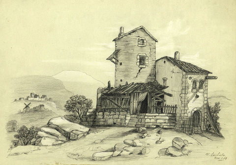 V. Leuliette, Stone Building, Switzerland - Original 1889 charcoal drawing