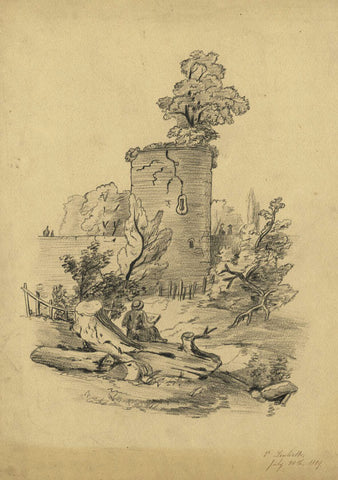 V. Leuliette, Round Tower, Switzerland - Original 1889 charcoal drawing
