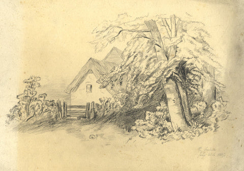 V. Leuliette, Continental Thatch Cottage - Original 1887 charcoal drawing