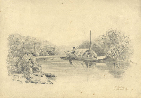 V. Leuliette, Continental River Boat - Original 1888 charcoal drawing