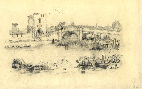 T. A. Wood, Fortified Town - Original late 19th-century charcoal drawing