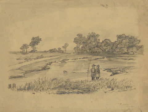 V. Leuliette, Continental River Bank - Original 1889 charcoal drawing