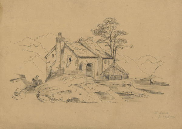 V. Leuliette, Continental House - Original 1887 charcoal drawing