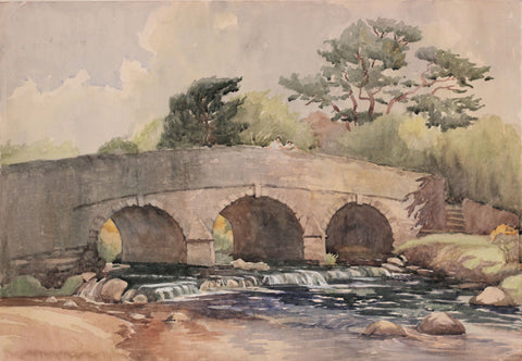 Poohsticks Bridge - Original mid-20th-century watercolour painting