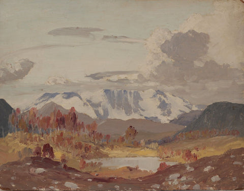 Myles Tonks, Distant Mountain Range - Original early 20th-century oil painting