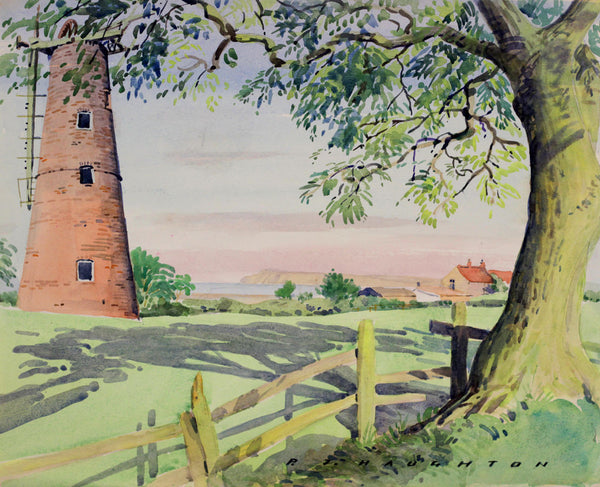 PJ Haughton, Windmill Co Durham - Original mid-20th-century watercolour painting