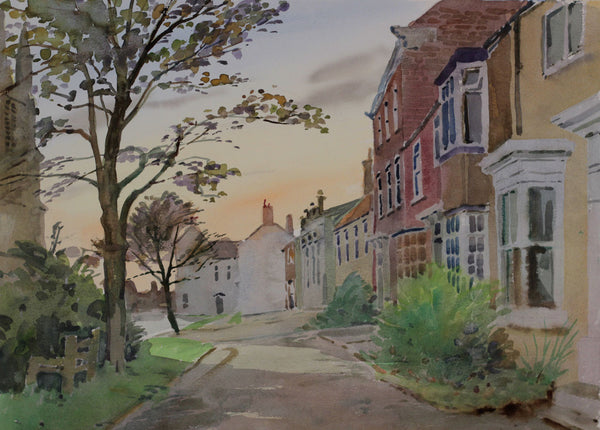 PJ Haughton, Country Village - Original mid-20th-century watercolour painting
