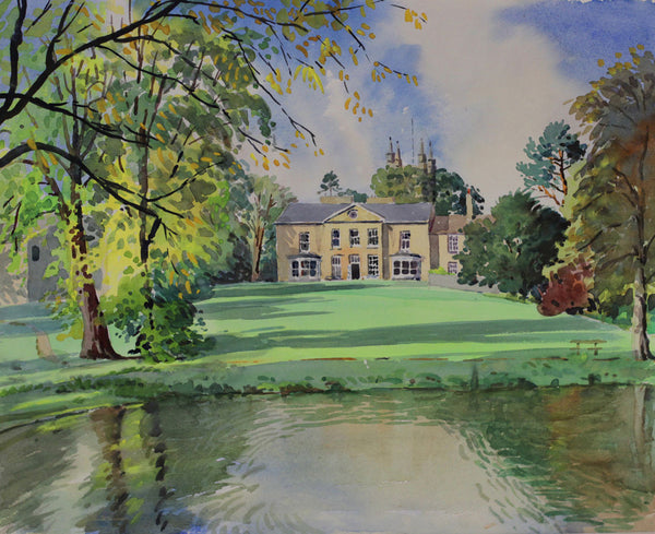PJ Haughton, Country Manor - Original mid-20th-century watercolour painting