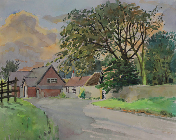 PJ Haughton, Country Farm Lane - Original mid-20th-century watercolour painting