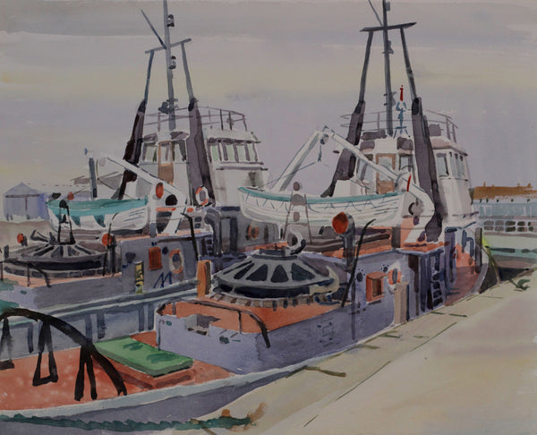 PJ Haughton, Fishing Boats - Original mid-20th-century watercolour painting