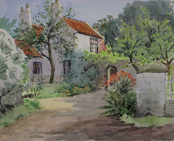 PJ Haughton, Walled Garden - Original mid-20th-century watercolour painting
