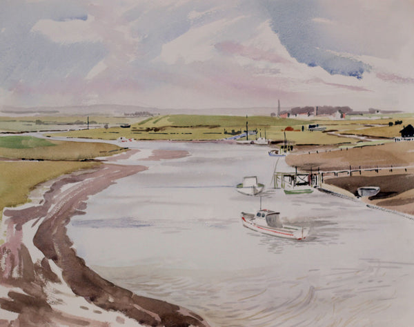 PJ Haughton, Boats in Estuary - Original mid-20th-century watercolour painting