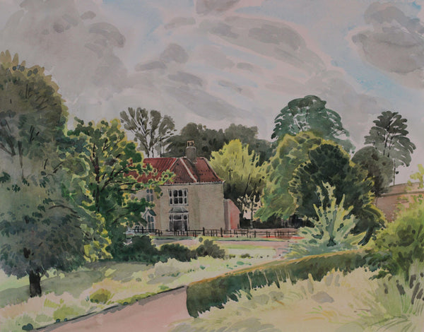 PJ Haughton, Country House View - Original mid-20th-century watercolour painting