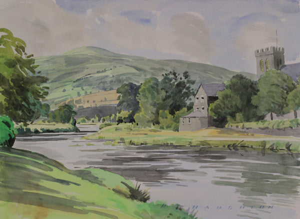 PJ Haughton, Church River View - Original mid-20th-century watercolour painting