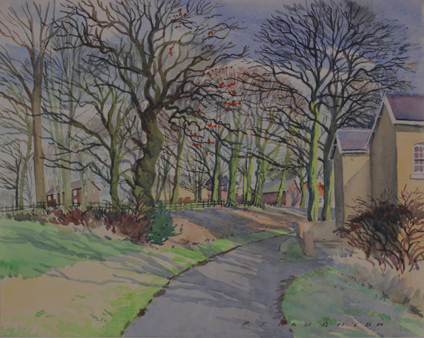 PJ Haughton, Autumn Path - Original mid-20th-century watercolour painting