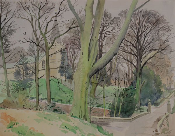 PJ Haughton, Church View - Original mid-20th-century watercolour painting
