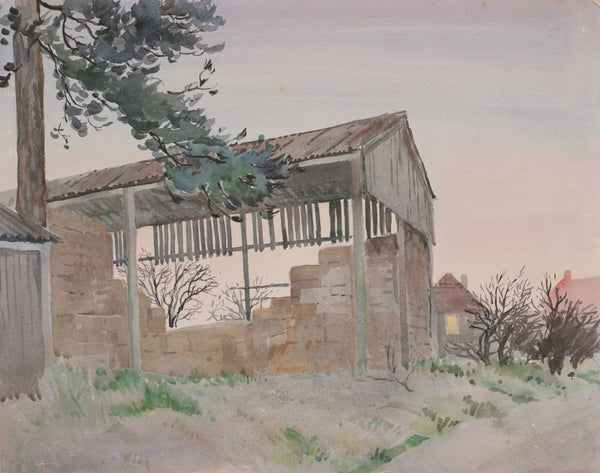 PJ Haughton, Hay Barn - Original mid-20th-century watercolour painting