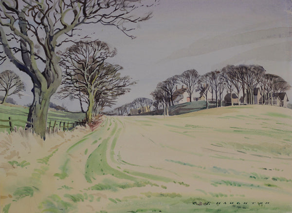 PJ Haughton, Country Field - Original mid-20th-century watercolour painting