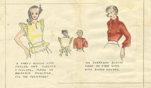 1950s Vintage Fashion Blouses - Original mid-20th-century pen & ink drawing