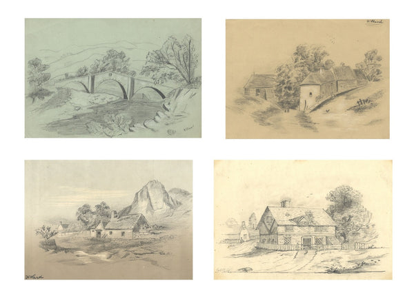 C. and H. Ward, Rural Scenes - Set of five 19th-century graphite drawings