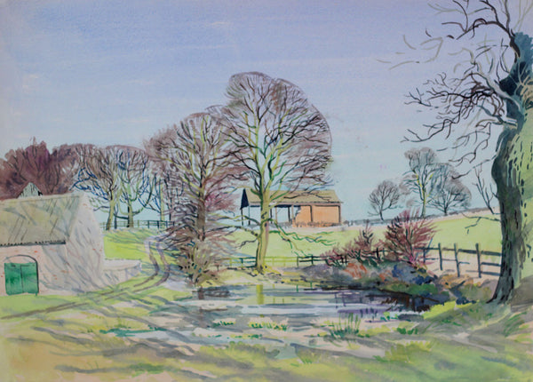 PJ Haughton, Country Farm Pond - Original mid-20th-century watercolour painting