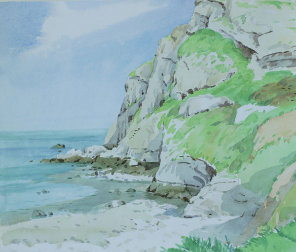 PJ Haughton, Coastal Cliffs - Original mid-20th-century watercolour painting
