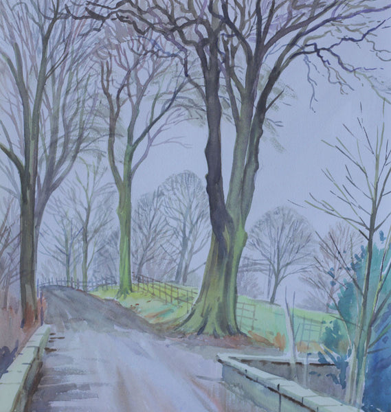 PJ Haughton, Tree Lined Avenue - Original mid-20th-century watercolour painting