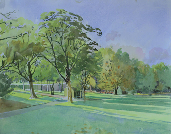 PJ Haughton, Park View - Original mid-20th-century watercolour painting