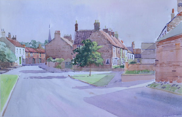 PJ Haughton, Village Street - Original mid-20th-century watercolour painting