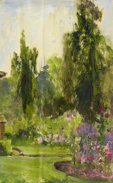 Eva Walbourn, Garden Glimpse - Original early 20th-century oil painting
