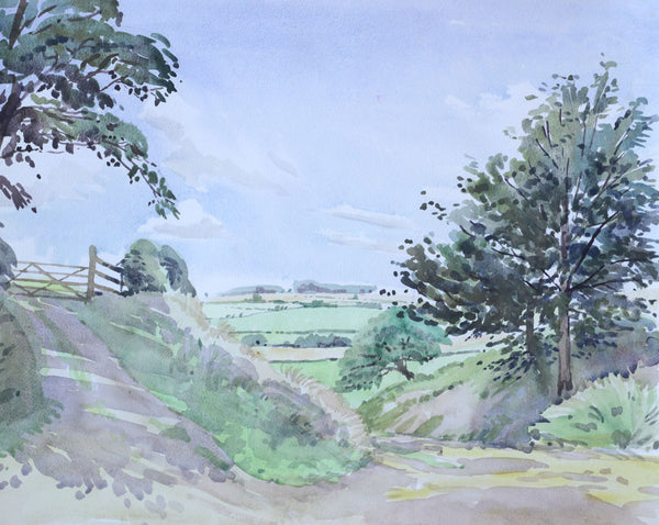 PJ Haughton, Country Gate - Original mid-20th-century watercolour painting