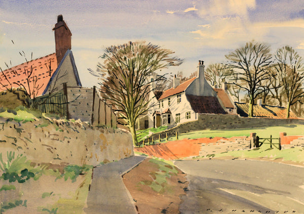 PJ Haughton, White Farm House - Original mid-20th-century watercolour painting