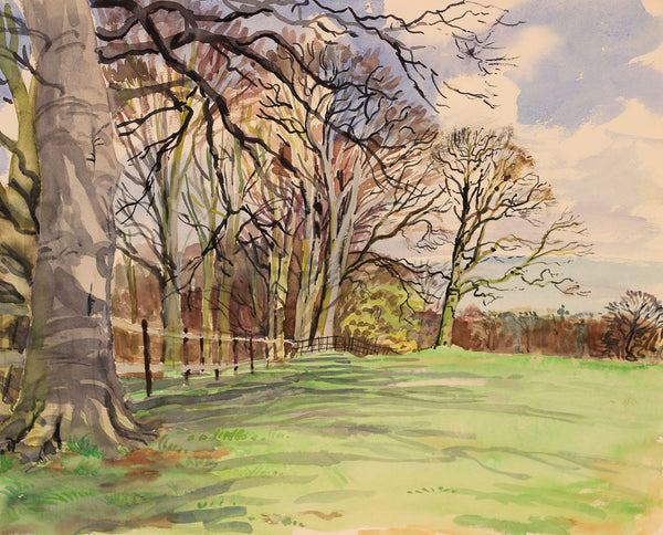 PJ Haughton, Trees by Field - Original mid-20th-century watercolour painting