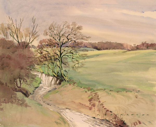 PJ Haughton, Country Stream - Original mid-20th-century watercolour painting