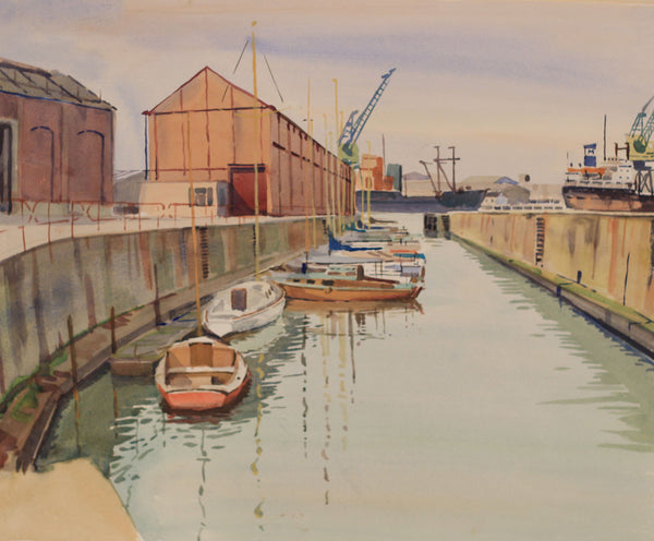 PJ Haughton, Boats in Dock - Original mid-20th-century watercolour painting