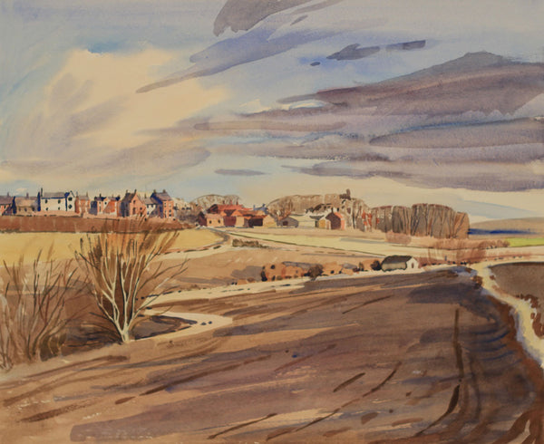 PJ Haughton, Ploughed Fields - Original mid-20th-century watercolour painting