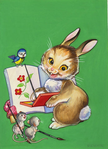 Doris E. White, Bunny Illustration - Original 1933 gouache painting