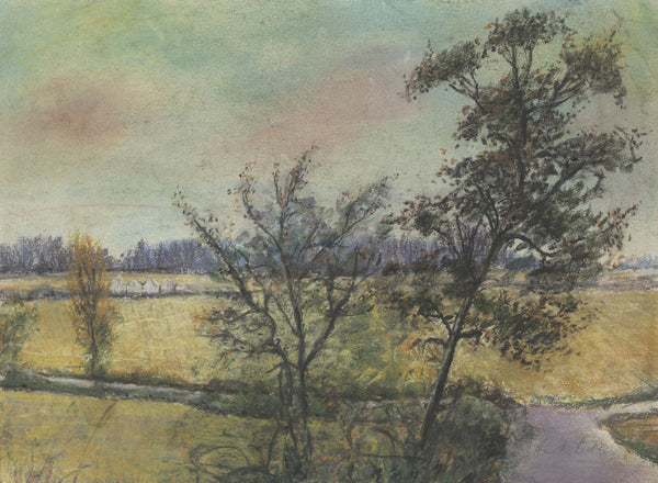 Frank Fidler, Autumn Fields - Original mid-20th-century pastel drawing